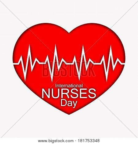 International nurses day illustration with red heart and heartbeat. Card or design for doctors, nurses and medicine