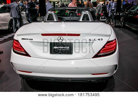 NEW YORK- APRIL12: Mercedes- Benz AMG SLC 43 shown at the New York International Auto Show 2017, at the Jacob Javits Center. This was Press Preview Day One of NYIAS, on April 12, 2017 in New York City