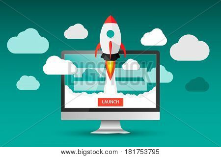 Launching App Project On Desktop Computer Concept. Rocket Fly Out Of Monitor. Start Up, Business Ide