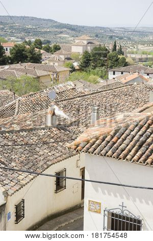 Eco, Classic tile roof, Chinchon, Spanish municipality famous for its old medieval square of green color, medieval village tourism