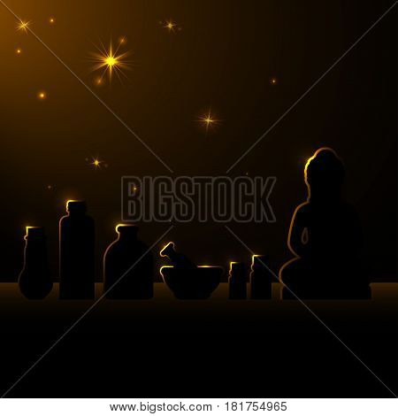 Ayurveda Vector illustration Silhouettes of bowls, bottles with oil and Ayurveda symbols standing on the table and illuminated with lights behind