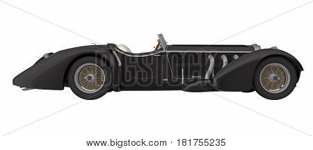black retro car cabriolet side view isolated on white 3d rendering
