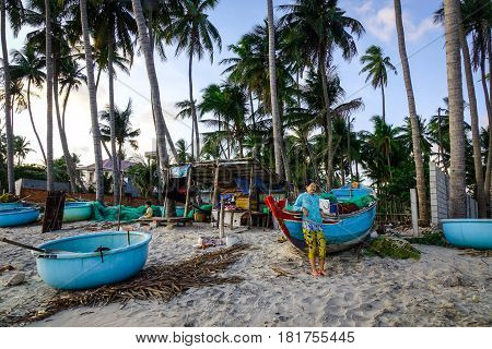 Many Boats Docking In Fishing Pier In Vietnam
