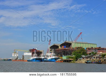 Shipyard On The Saigon River In Southern Vietnam