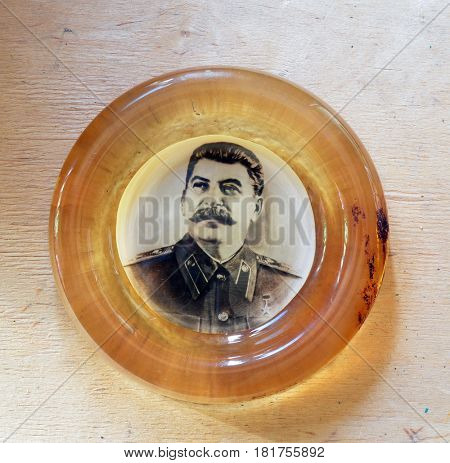 ILLUSTRATIVE EDITORIAL.Hand made souvenir with Stalin photo.USSR,1970-th.April 15, 2017 Kiev, Ukraine
