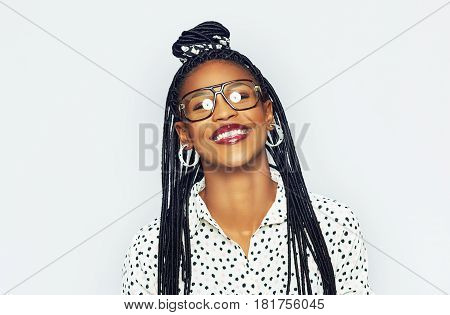 Smiling Young Black Woman In Glasses