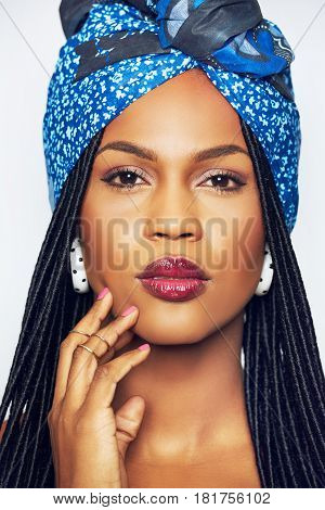 Pretty Young Black Woman In Blue Headscarf
