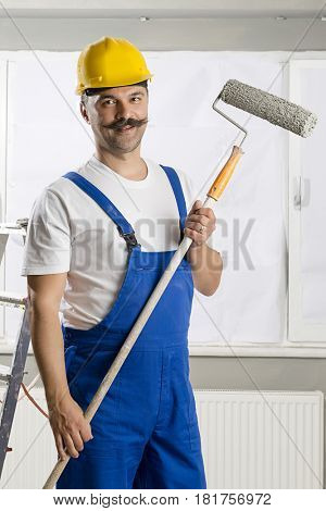 Adult Painter Holding Paint Roller