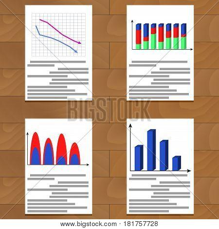 Set of charts. Statistics growth economy data and report analytics vector illustration