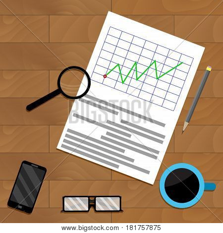 Analytics with magnifying glass. Report result infochart and diagram vector illustration