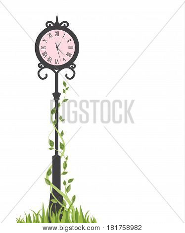 Vector illustration of street clock. Decoration clock with space for text
