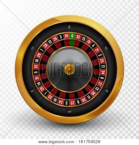 Realistic casino gambling roulette wheel isolated. Vector play chance luck roulette wheel illustration.