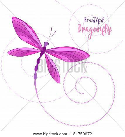 Vector llustrace dragonfly on a white background. Brightly colored dragonflies in flight