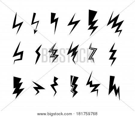 Lightning icon set. Thunder bolt storm vector symbol. Flwsh electric energy sign. Arrow abstract element.