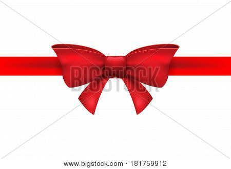 Red ribbon with red bow on a white background. Vector isolated bow decoration for holiday present. Gift element for card design.