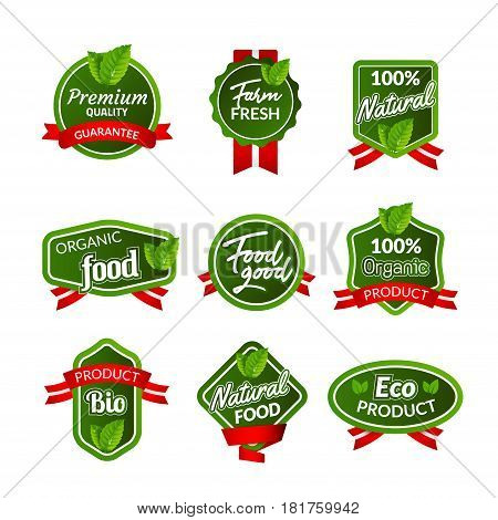 Organic health food badge seal design. Natural organic food sticker set. Farm product market signs in vector.