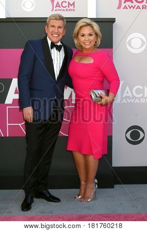 LAS VEGAS - APR 2:  Todd Chrisley, Julie Chrisley at the Academy of Country Music Awards 2017 at T-Mobile Arena on April 2, 2017 in Las Vegas, NV