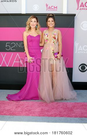 LAS VEGAS - APR 2:  Maddie Marlow, Taylor Dye at the Academy of Country Music Awards 2017 at T-Mobile Arena on April 2, 2017 in Las Vegas, NV