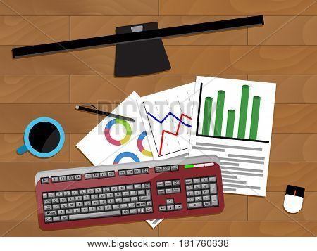 Chart profit document vector financial annual paperwork illustration