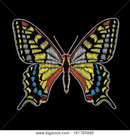 Embroidery butterfly design for clothing. Decorative element for embroidery, patches and stickers.