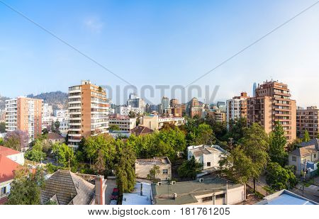 Panoramic view of the residential neighborhood in Providencia commune in Santiago Chile