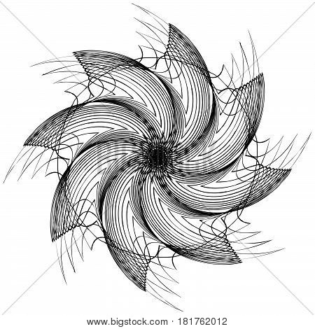 Black And White Circular Element. Concentric, Radial Lines With Distortion. Abstract Geometric Illus