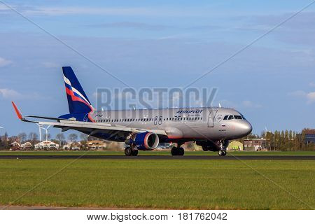 Amsterdam Schiphol Airport the Netherlands - April 14 2017: Aeroflot Russian Airlines Airbus A320 aircraft landing