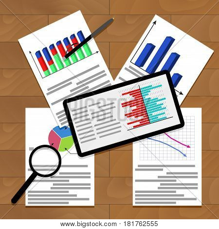Financial work with charts and infographic analytics vector graph and annual result illustration
