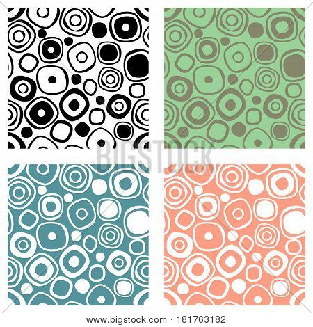 Set Of Seamless Vector Geometrical Patterns. Endless Print, Backgrounds With Hand Drawn Circles. Gra