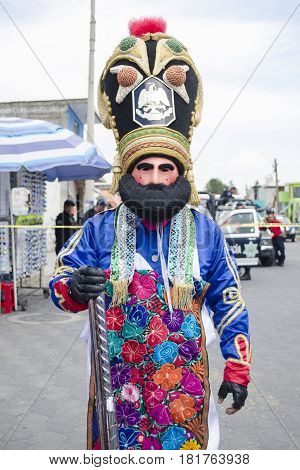 NATÍVITAS, TLAXCALA, MEXICO- MARCH 26, 2017: Man dressed up like a frenchman at Natívitas carnival. This carnival represents the battle of Puebla that took place on 5 May, 1862.