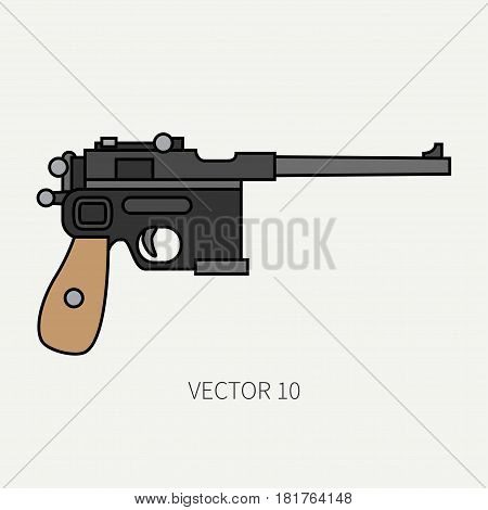 Line flat color vector military icon handgun, pistol. Army equipment and armament. Legendary retro weapon. Cartoon style. Assault. Soldier. Slug. War. Illustration and element for design and wallpaper