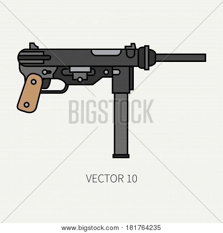 Line flat color vector military icon - machine gun. Army equipment and armament. Legendary retro weapon. Cartoon style. Assault. Soldiers. Slug. War. Illustration and element for design and wallpaper.