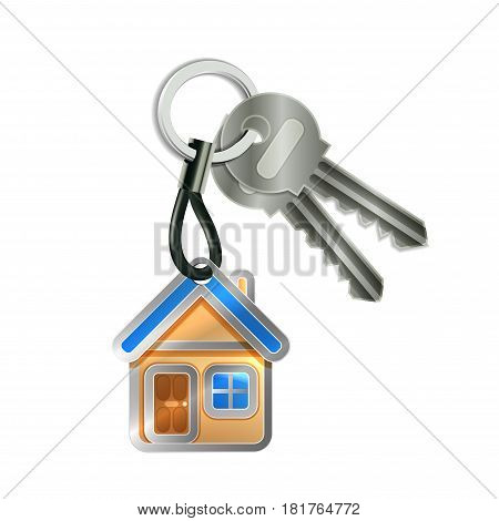 Keychain with house and two keys isolated