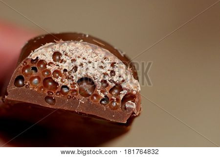 Chocolate. Black porous chocolate. Very tasty, pleasant. It is loved by all: children and adults. Brings heavenly delight.