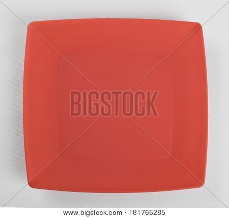 Red plastic shallow dish food top view