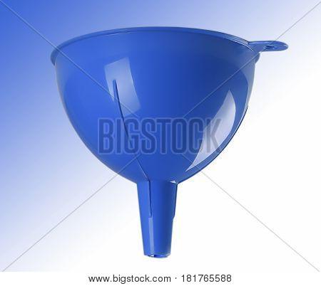 Blue plastic kitchen funnel liquid front view