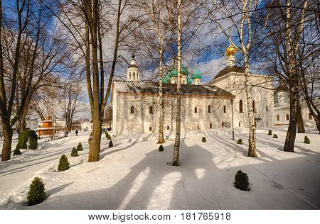 Cross-Exaltation Church In the Tolga convent. Gold ring. Yaroslavl. Russia. Sunny and snowy winter day.