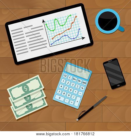 Market chart on tablet vecto annual report and business analytics illustration