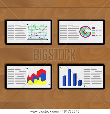Infochart business on tablets. Vector information pie chart data planning infographic on tablets illustration