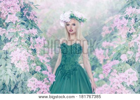 Young Woman In Magic Forest