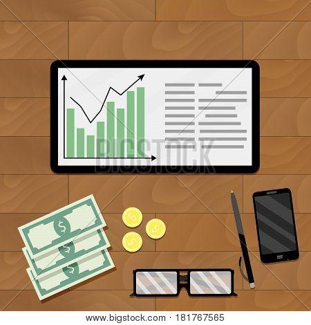 Statistic economic graphic vector result analysis graph market profit illustration