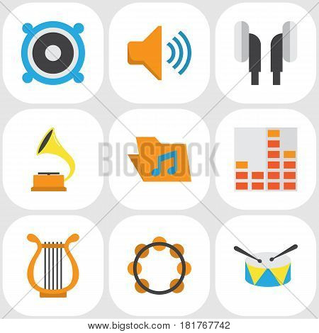 Multimedia Flat Icons Set. Collection Of Controlling, Audio, Loudspeaker And Other Elements. Also Includes Symbols Such As Shellac, Audio, Band.