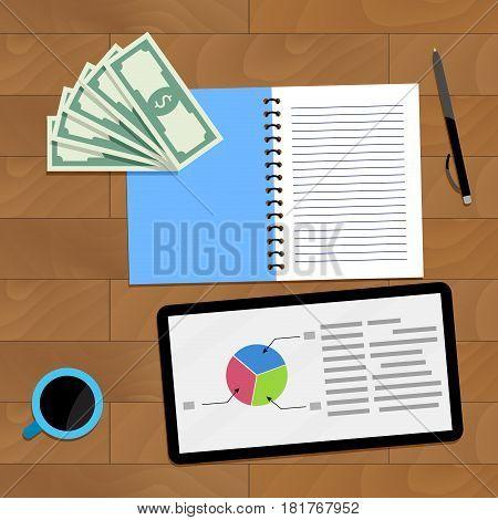 Statistic finance chart vector profit data finance illustration
