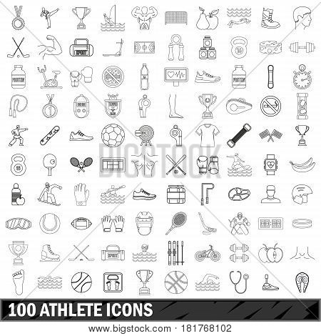 100 athlete icons set in outline style for any design vector illustration