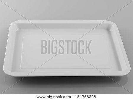 Empty plastic shallow dish food on gray background