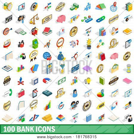 100 bank icons set in isometric 3d style for any design vector illustration