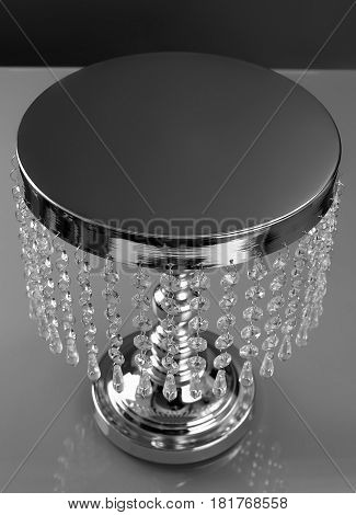 Luxury cake stand with crystals for beautiful and delicious cake and pastries top view