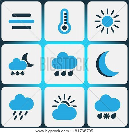Meteorology Colored Icons Set. Collection Of Rainfall, Rainstorm, Breeze And Other Elements. Also Includes Symbols Such As Blizzard, Moonlight, Rainstorm.