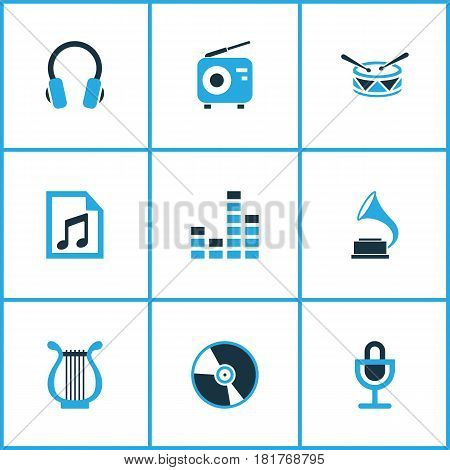 Audio Colored Icons Set. Collection Of Playlist, Microphone, Harp And Other Elements. Also Includes Symbols Such As Mike, Phonograph, Headset.