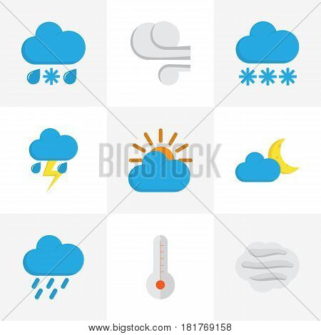 Climate Flat Icons Set. Collection Of Shower, Windy, Crescent And Other Elements. Also Includes Symbols Such As Snow, Shower, Hail.